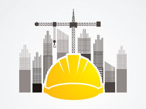 Construction. Building industry designed on tower and city background graphic vector Royalty Free Stock Image