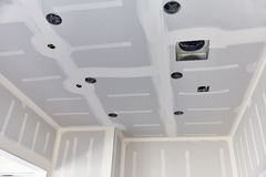 Construction building industry drywall taping interior open kitc Stock Photos