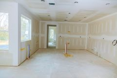 Construction building industry new home construction interior drywall and finish details stock photos