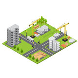 Construction Building Isometric View. Vector Royalty Free Stock Photos