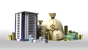 Construction building and make city with cash, money, bills, loan,debt for construction development. (included Alpha&#x29 stock video footage