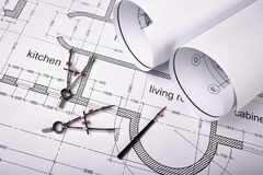 Construction of the building plans and drawing tools Royalty Free Stock Image