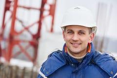 Construction building site foreman. Happy construction manager or building site foreman worker stock photos