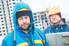 Construction building site foreman. Construction manager or building site workers stock photography