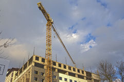Construction Building Site With Industrial Mid-Size Crane. HDR Image Toning. Royalty Free Stock Images