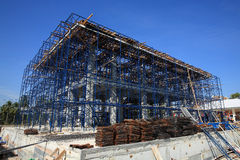 Construction building site at Iron frame stage. Against blue sky Royalty Free Stock Image