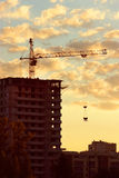 Construction of the building at sunset Royalty Free Stock Photography