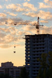 Construction of the building at sunset Royalty Free Stock Photos