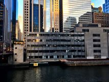 Construction at a building tear down along the Chicago River. royalty free stock image