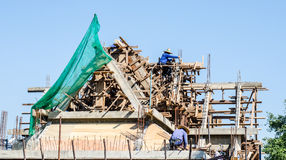 Construction and building of temple roof Royalty Free Stock Images