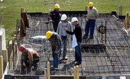 Construction. Building under construction with workers Stock Photo
