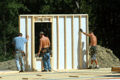 Construction - Building Wall. Construction - Building the wall of a modular residential home Stock Photography