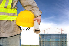 Construction building with worker Royalty Free Stock Image