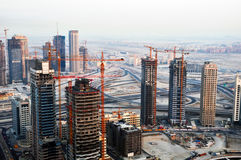 Construction Buildings. Buildings under construction in the Dubai Marina Royalty Free Stock Image