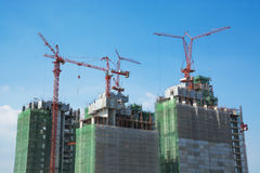 Construction buildings area site with Crane Royalty Free Stock Photography