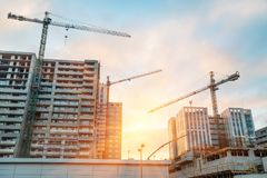 Construction buildings of concrete and glass Royalty Free Stock Photos