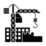 Construction buildings icon, vector illustration, black sign on isolated background vector illustration
