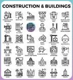 Construction & Buildings icons royalty free illustration