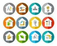 The construction of buildings, repair of buildings, icons, colored. Stock Photography