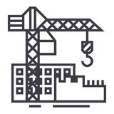 Construction buildings vector line icon, sign, illustration on background, editable strokes Royalty Free Stock Image