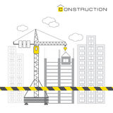 Construction of buildings on white background Stock Photography