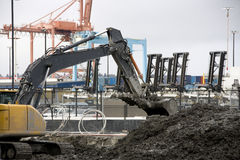 Construction bulldozer stock image