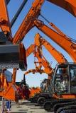 Construction bulldozers row Stock Photo