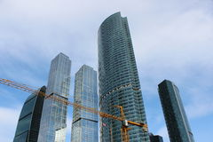 Construction of business center Moscow-City Stock Photos