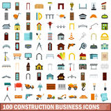 100 construction business icons set, flat style. 100 construction business icons set in flat style for any design vector illustration Stock Image
