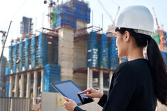 Construction business woman Stock Images