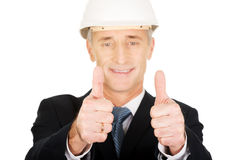 Construction businessman showing ok sign Royalty Free Stock Photography