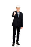 Construction businessman showing ok sign Royalty Free Stock Images