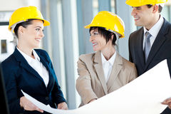 Construction businesspeople interacting. Group of happy construction businesspeople interacting Stock Image