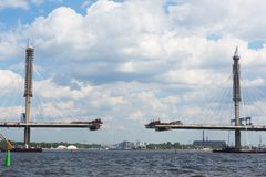 Construction of the cable-stayed bridge across the river Neva Royalty Free Stock Photos