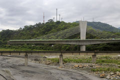 Construction of the cable-stayed road bridge Royalty Free Stock Photos