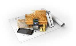 Construction calculation of drawings telephone home frame 3d ren. Der on a white background Stock Photos