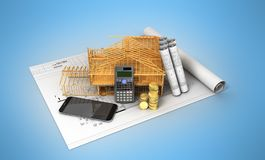 Construction calculation of drawings telephone home frame 3d ren. Der on a blue background Stock Photo