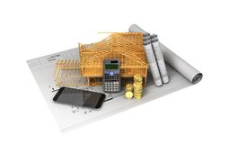 Construction calculation of drawings telephone home frame 3d ren. Der on a white background no shadow Stock Photos