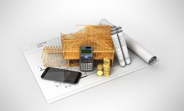 Construction calculation of drawings telephone home frame 3d ren. Der on a gray background Royalty Free Stock Images
