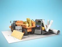 Construction calculation dump truck excavator money coins buildi Stock Photo