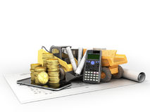 Construction calculations drawings phone dumper excavator 3d ren Royalty Free Stock Photo