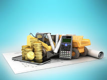 Construction calculations drawings phone dumper excavator 3d ren Stock Images