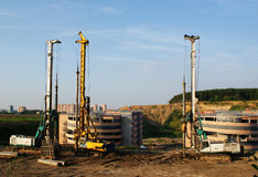 Construction of the car parking. The construction of the car parking (digging heavy equipment Royalty Free Stock Photo