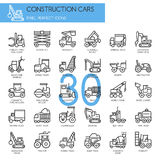 Construction Cars , thin line icons set Royalty Free Stock Image