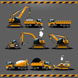Construction Cars Vector Icon Set. Construction Trucks. Construction Vehicles Types Vector icon set. Car Toy Packaging Design. Construction Transportation Stock Photography