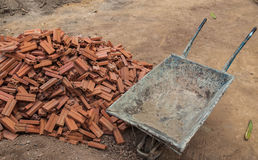 Construction cart. And brick for building Stock Image