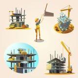 Construction cartoon set. Construction concept set with building process retro cartoon icons  vector illustration Royalty Free Stock Image