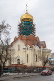 Construction of the Cathedral of St. Andrei Rublev in Moscow municipal district Ramenki. Stock Photos