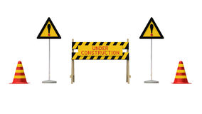 Construction and caution sign Royalty Free Stock Image