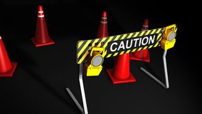 Construction caution sign, warning, block. stock video